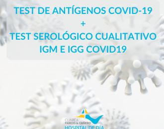 Test de Antígenos Covid19 + Test Serológico cualitativo IgM e IgG Covid19